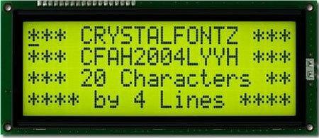 LCD-Modul 20x4 Zeichen, gelb-grün, große Zeichen, europäischer Zeichensatz LC2004L-YYH-ET